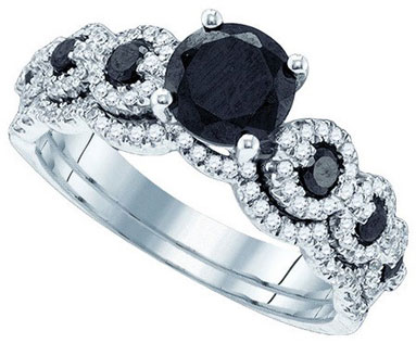 Black Diamond Two Piece Set 14K White Gold 1.75 cts. GD-84530
