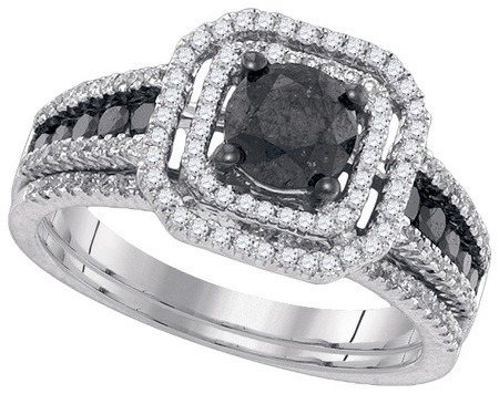 Black Diamond Two Piece Set 14K White Gold 1.50 cts. GD-84600