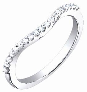 Ladies Diamond Band 18K White Gold 0.20 cts. S52-10