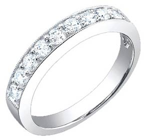 Ladies Diamond Band 18K White Gold 0.60 cts. S52-14