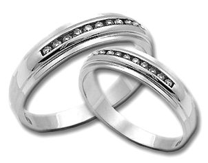 Two Piece Wedding Set 14K White Gold 0.50 cts. HHSD-184