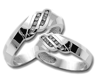 Two Piece Wedding Set 14K White Gold 0.50 cts. HHSD-212