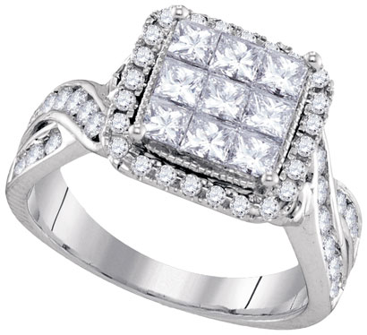 Diamond Engagement Ring 14K White Gold 1.65 cts. GD-94426