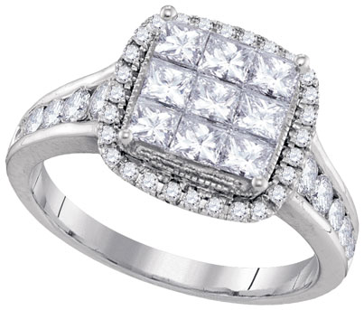 Diamond Engagement Ring 14K White Gold 1.51 cts. GD-94434