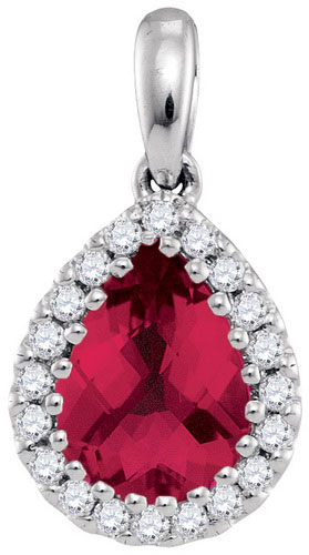 Diamond Ruby Fashion Pendant 14K White Gold 1.64 cts. GD-94709
