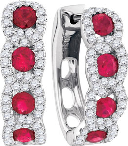 Diamond Ruby Earrings 14K White Gold 1.76 cts. GD-94730