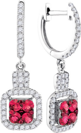 Diamond Ruby Earrings 14K White Gold 0.97 cts. GD-94738