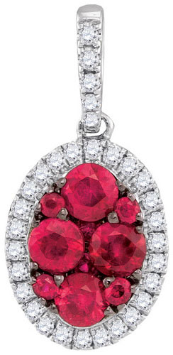 Diamond Ruby Fashion Pendant 14K White Gold 0.87 cts. GD-94741