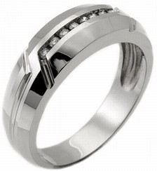 Men's Diamond Ring 14K White Gold 0.25 cts. MSD-167