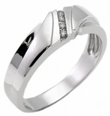 Men's Diamond Ring 14K White Gold 0.14 cts. MSD-182