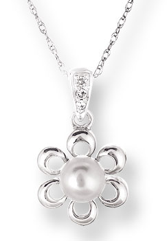Pearl Diamond Pendant 14K White Gold 0.02 cts. CL-26013