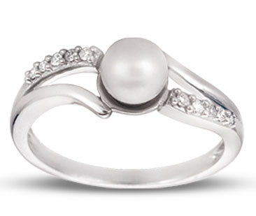 Pearl Diamond Ring 14K White Gold 0.07 cts. CL-26034