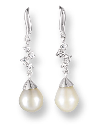 Pearl Diamond Earrings 14K White Gold 0.08 cts. CL-26296