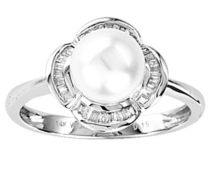 Pearl Diamond Ring 14K White Gold 0.14 cts. CL-26968