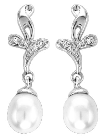 Pearl Diamond Earrings 14K White Gold 0.02 cts. CL-27346