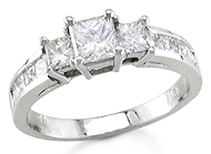 Three Stone Diamond Engagement Ring 14K Gold 1.40 cts. S13-11