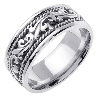 White Gold Paisley Wedding Band 8mm WG-265
