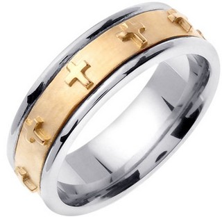 Two Tone Gold Cross Wedding Band 7mm TT-273C