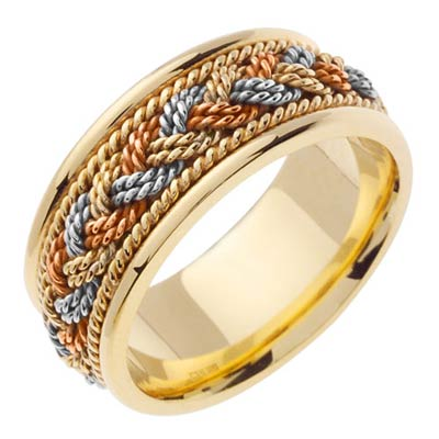 Tri Color Gold Sailor Braid Wedding Band 8mm TC-556D