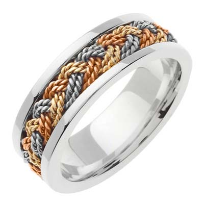 Tri Color Gold Sailor Braid Wedding Band 6mm TC-557B