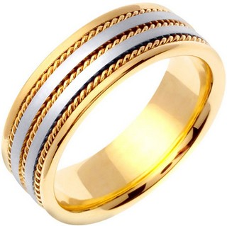 Two Tone Gold Twin Blade Wedding Band 7mm TT-761A