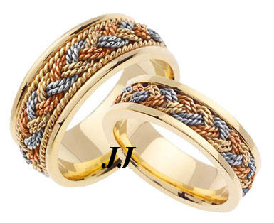 Tri Color Gold Sailor Braid Wedding Band Set 6mm & 8mm TC-557AS