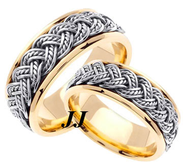 Two Tone Gold Hand Braided Wedding Band Set 8mm TT-255AS