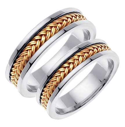 Two Tone Gold Hand Braided Wedding Band Set 6mm Tt 651as